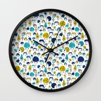 faces Wall Clocks featuring Faces by Sahily Tallet Yip