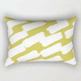 Brushstrokes - Green & White Rectangular Pillow