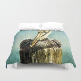 Brown Pelican Art Duvet Cover