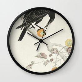 Crow with kaki fruit (1900 - 1910) by Ohara Koson (1877-1945) Wall Clock