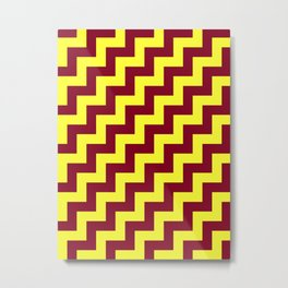 Electric Yellow and Burgundy Red Steps RTL Metal Print