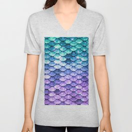 Mermaid Ombre Sparkle Teal Blue Purple Unisex V-Neck