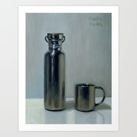 Water-bottle & cup Art Print