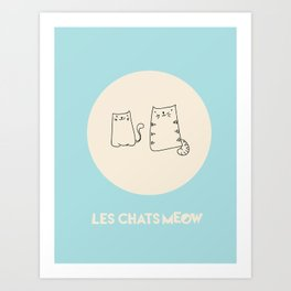 Paper Bag Cats, Canvas and Duffel, Blue Background Art Print
