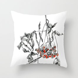 rowan branch with dried leaves and berries Throw Pillow