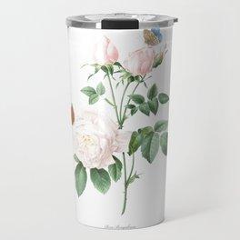 Chinese Rose art of Nature, flower print, botanical illustration Travel Mug