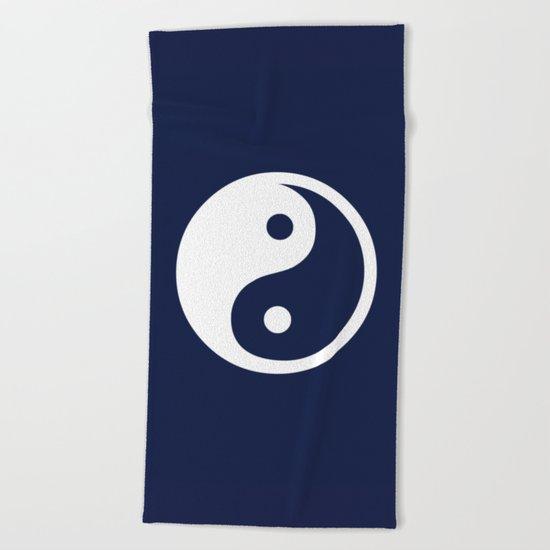 Indigo Navy Blue Yin Yang Beach Towel