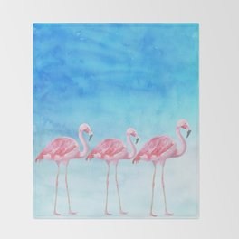 Flamingo Bird Summer Lagune - Watercolor Illustration Throw Blanket