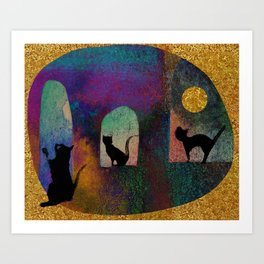 Cats and moon Art Print