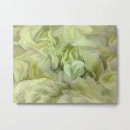 Soft Green Petal Ruffles Abstract Metal Print