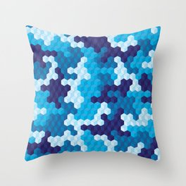 CUBOUFLAGE BLUE Throw Pillow