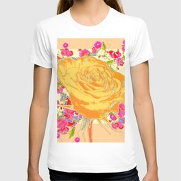 CORAL COLOR ART &  ORANGE ROSE PINK  FLOWERS  DESIGN T-shirt