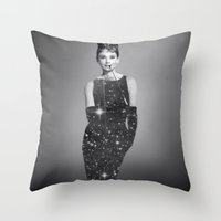 audrey hepburn Throw Pillows featuring Audrey Hepburn by Laure.B