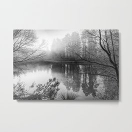 Misty Mallards Pike in Monochrome Metal Print