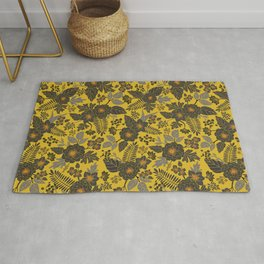 Mustard Yellow, Blue-Gray & Red Floral/Botanical Pattern Rug