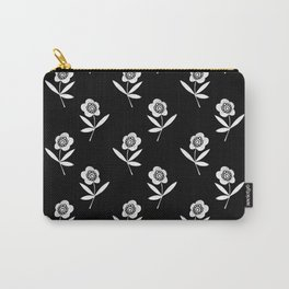 Linocut flower art minimal black and white printmaking florals Carry-All Pouch