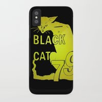 duvet cover iPhone & iPod Cases featuring BLACK CAT DUVET COVER by aztosaha