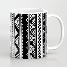 Black White Cute Girly Urban Tribal Aztec Andes Abstract Geometric Hand-drawn Pattern Coffee Mug