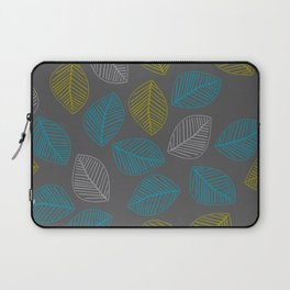 Mid Century Modern Falling Leaves Turquoise Chartreuse Gray Laptop Sleeve