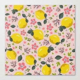 Lemon floral pattern Canvas Print