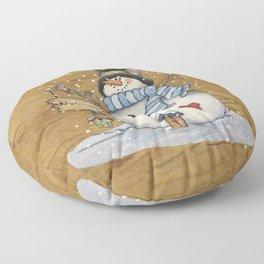 Folk Art Snowman Christmas Floor Pillow