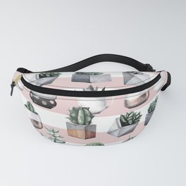 Potted Cactus Stripes Pink Rose Gold Fanny Pack