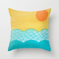 sunrise Throw Pillows featuring Sunrise by sinonelineman