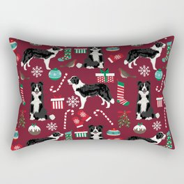 Border Collie christmas stockings presents holiday candy canes dog breed pattern Rectangular Pillow