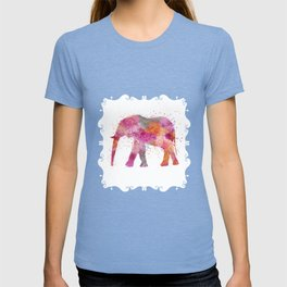 Artsy watercolor Elephant bright orange pink colors T-shirt