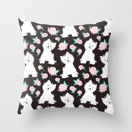 dogs and flowers pattern Throw Pillow