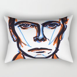 David Bowie Vibrant Orange Rectangular Pillow