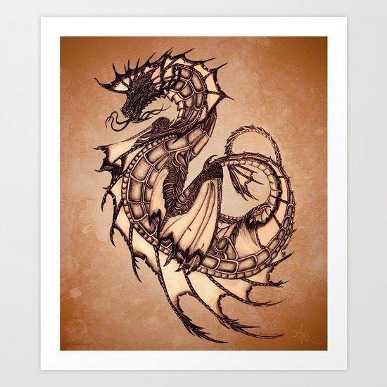 """Tsunami"" by Amber Marine ~ Sea Dragon (Amber Gem Version) ~ Graphite/Charcoal Illustration (c) 2005 Art Print"
