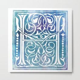 Letter H Antique Floral Letterpress Monogram Metal Print
