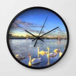 Sunset Swans Wall Clock