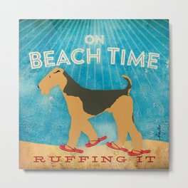 Beach Time Airedale by Stephen Fowler Metal Print