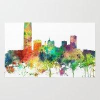 oklahoma Area & Throw Rugs featuring Oklahoma City, Oklahoma skyline SP by Marlene Watson
