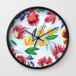Watercolor Summer Flower Bouquet Wall Clock
