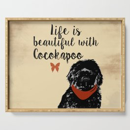 Black Cockapoo Dog Serving Tray