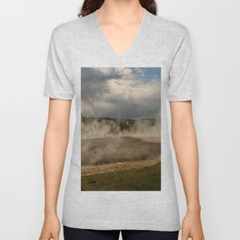 A Cloud Of Steam And Water Over A Geyser Unisex V-Neck