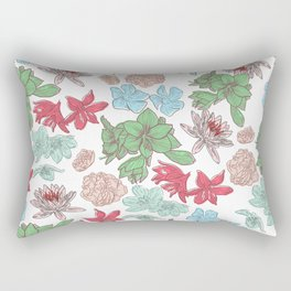 Abstract red pink bold colors floral illustration Rectangular Pillow