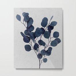 Eucalyptus Leaf Stem Botanical Navy Indigo Blue Watercolor Nature Farmhouse Painting Art Print Wall Decor Metal Print