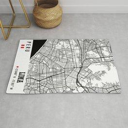 Lima, PERU Road Map Art - Earth Tones Rug