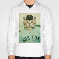 baseball Hoodies featuring Baseball Cat by Luigi Tarini