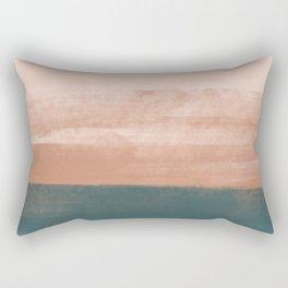 Desert Dream Waves_ Teal Green & Pink_ brush strokes abstract painting Rectangular Pillow