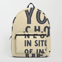 If you are neutral in situations of injustice, Desmond Tutu quote, civil rights, peace, freedom Backpack