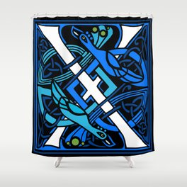 Celtic Peacocks Letter X Shower Curtain