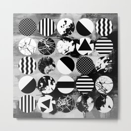 Eclectic Circles - Black and white, abstract, geometric, textured designs Metal Print