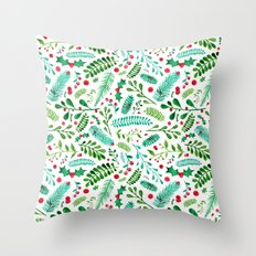 Christmas Florals Throw Pillow