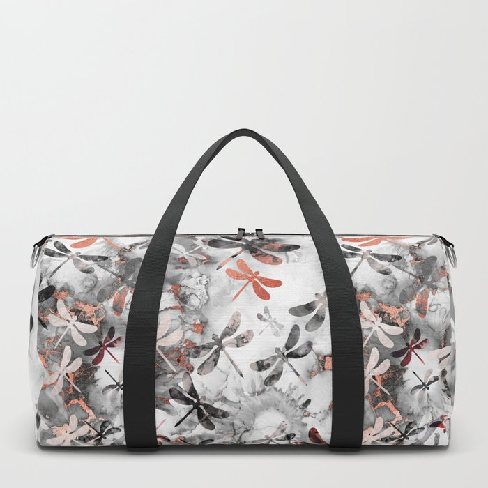 Dragonfly Lullaby in Marble and Rose Gold Duffle Bag