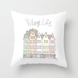 Village Row Houses Throw Pillow